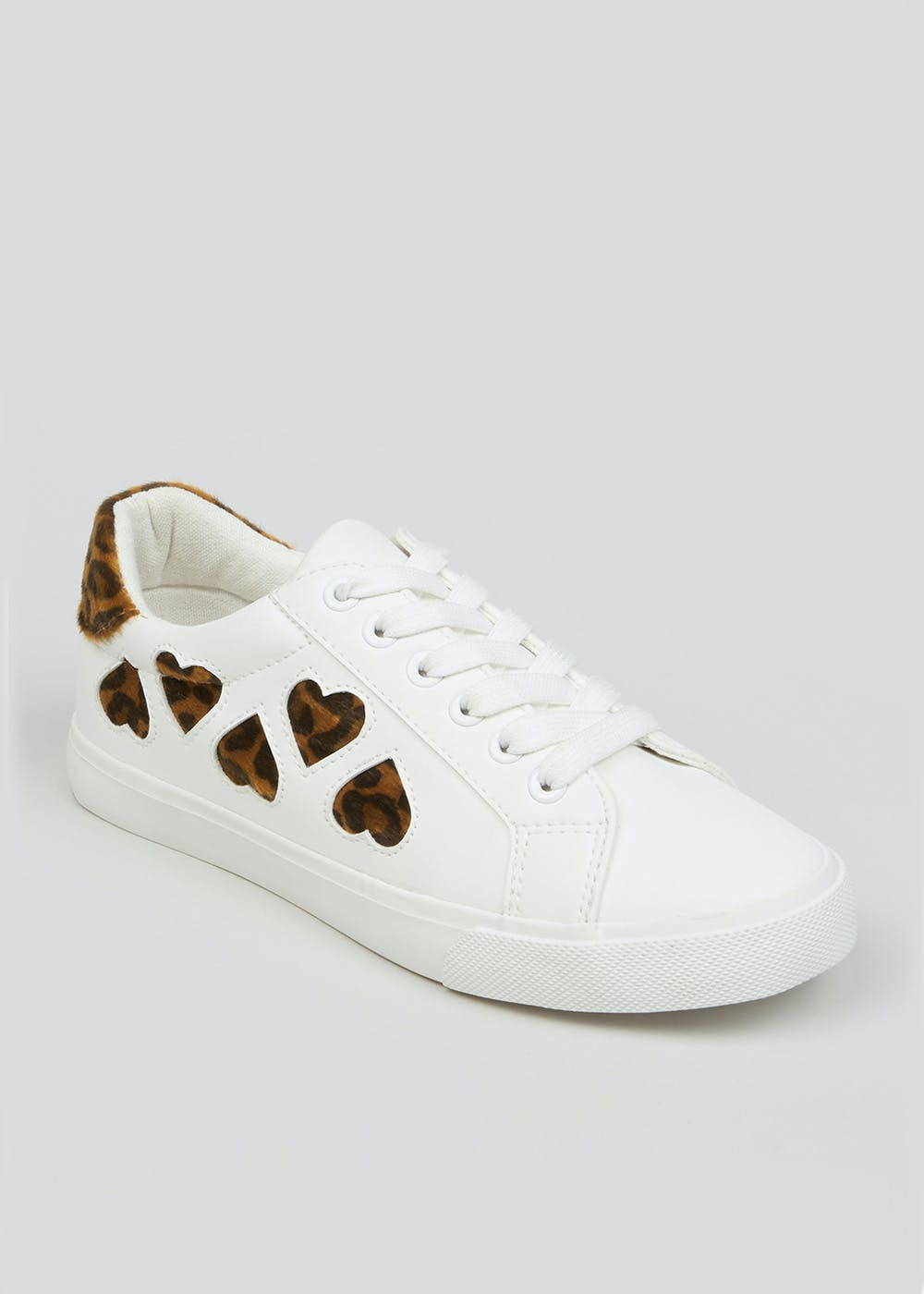 Leopard Print Heart Trainers – White