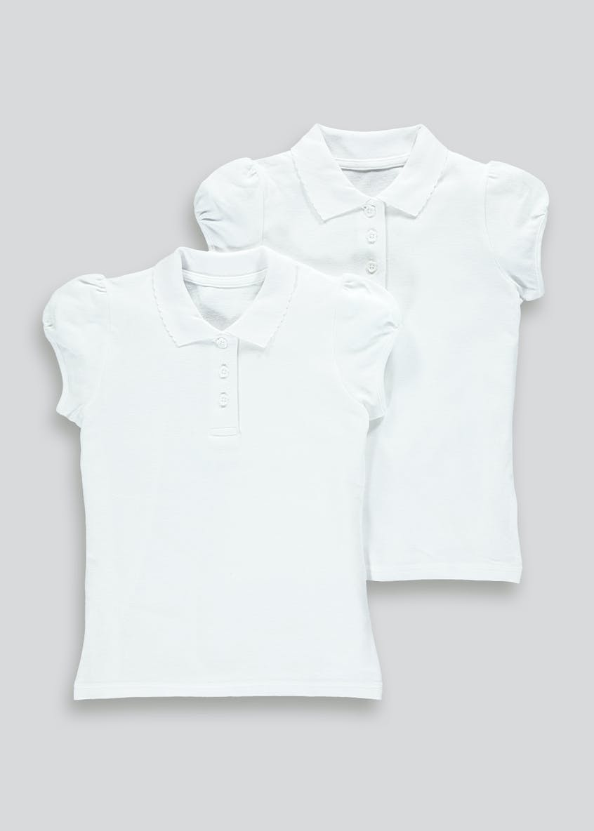 Girls 2 Pack School Polo Shirts (3-13yrs)