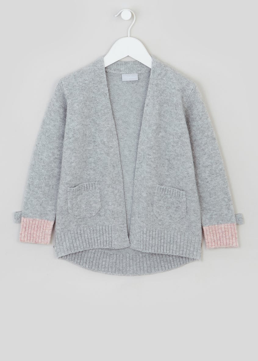 Girls Contrast Cuff Cardigan (4-13yrs)