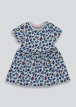 Girls Leopard Print Jersey Dress (9mths-6yrs)
