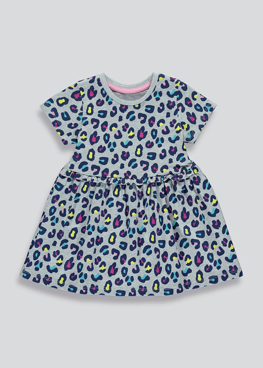 Girls Grey Short Sleeve Leopard Print Dress (9mths-6yrs)