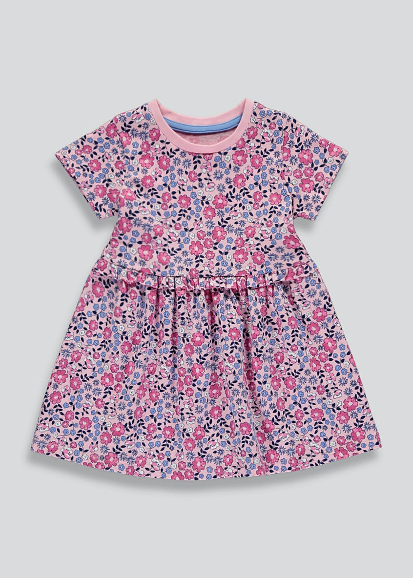 Girls Pink Short Sleeve Floral Jersey Dress (9mths-6yrs)