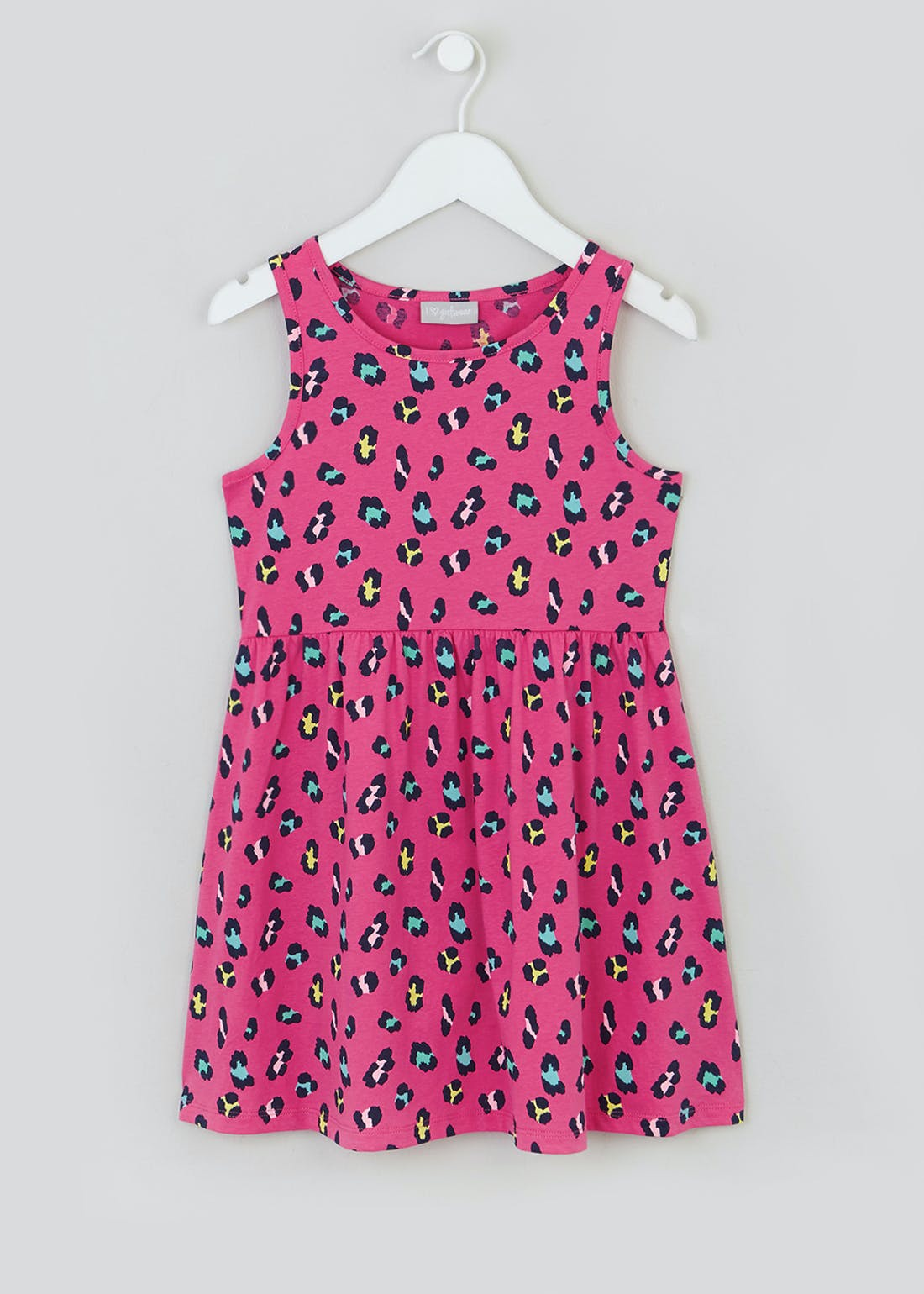 Girls Pink Sleeveless Leopard Print Dress (4-13yrs)