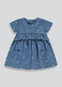 Girls Floral Embroidered Denim Dress (9mths-6yrs)