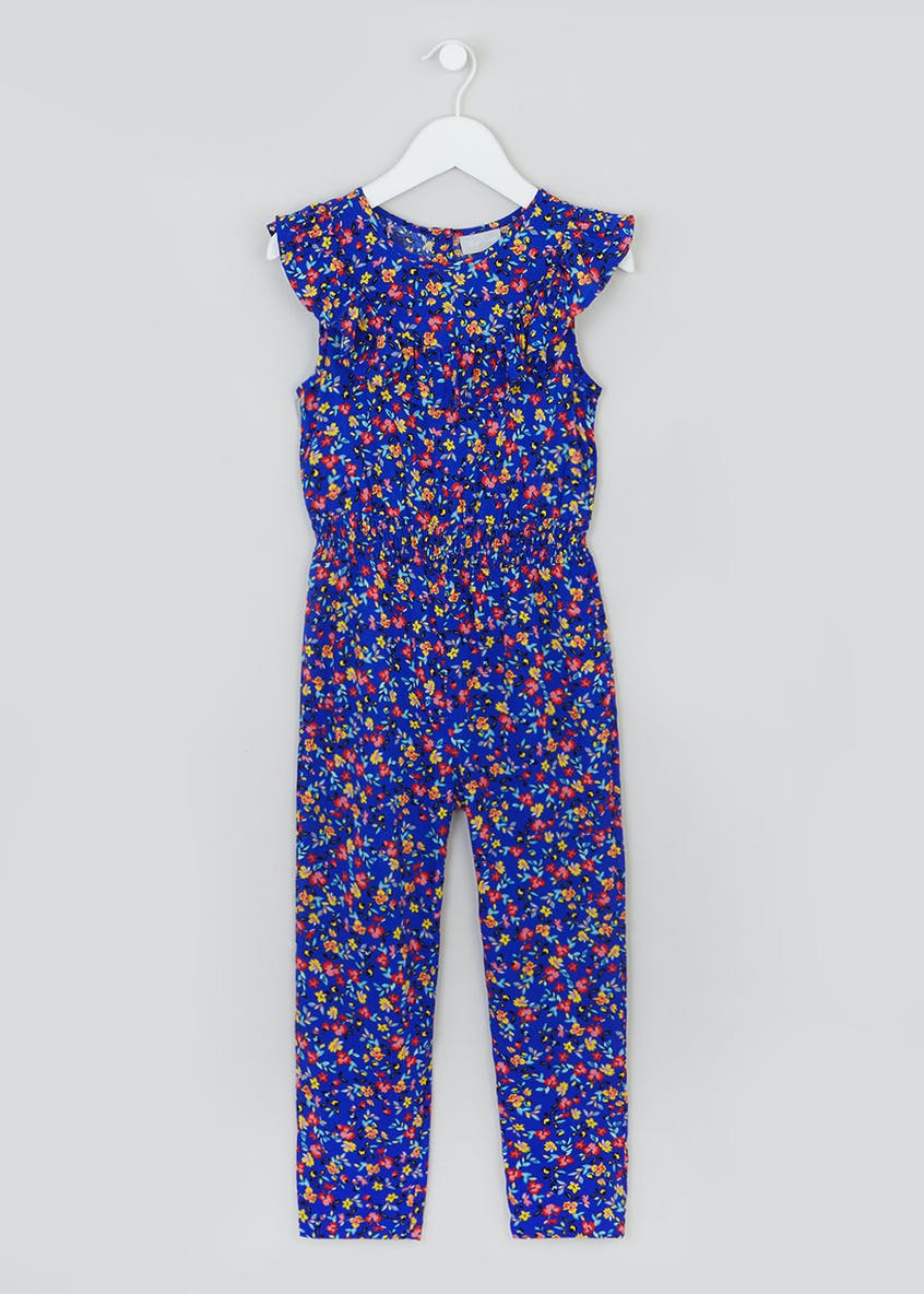 Girls Floral Frill Woven Jumpsuit (4-13yrs)