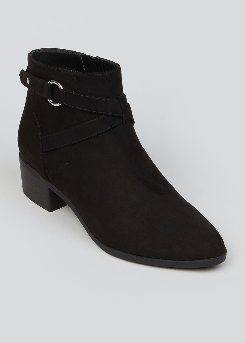 Wide Fit Black Buckle Ankle Boots