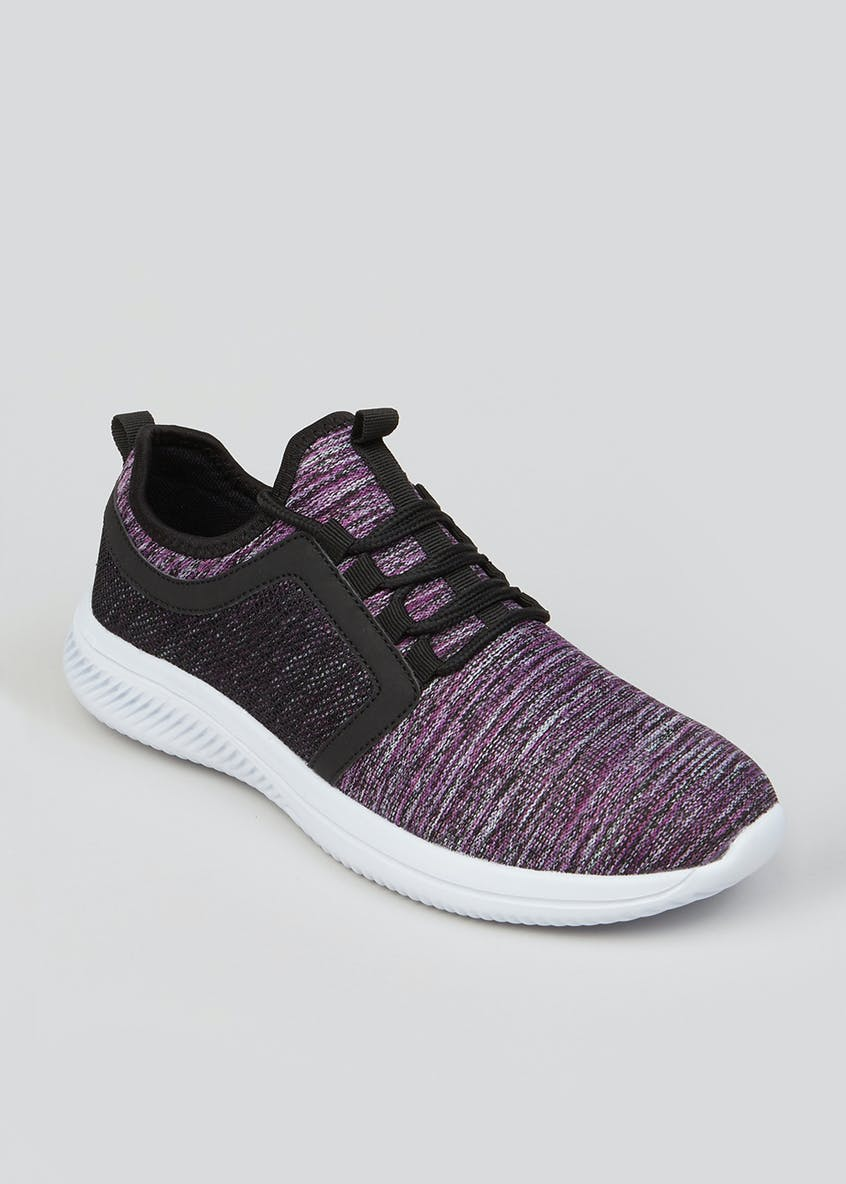 Souluxe Purple Space Dye Knitted Trainers