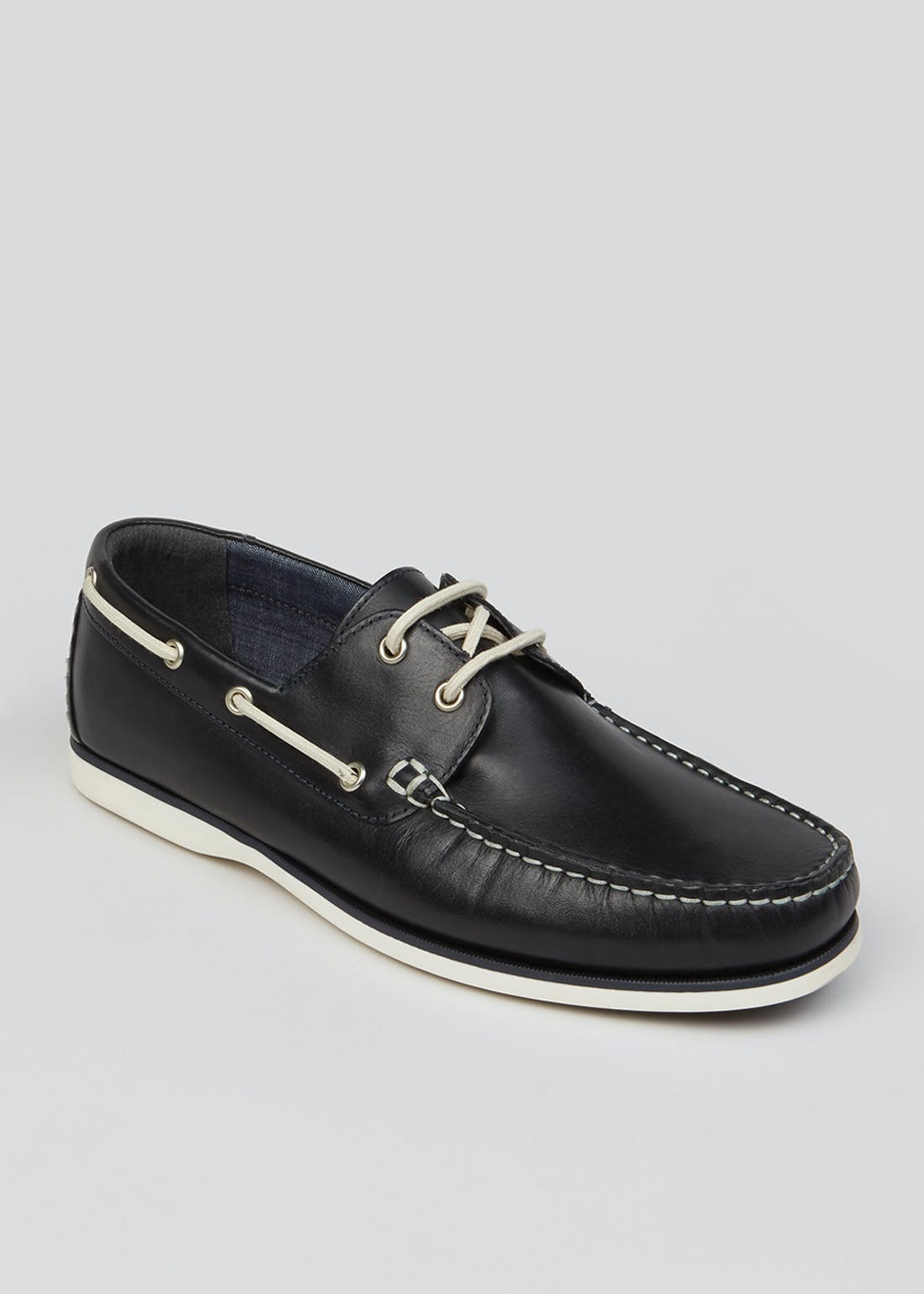 Navy Real Leather Boat Shoes