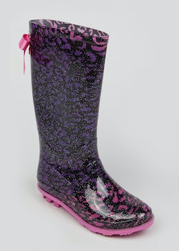 Girls Leopard Print Wellies (Younger 10-Older 5)