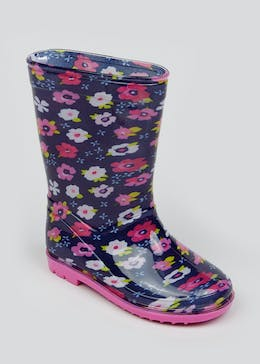 Girls Floral Print Wellies (Younger 4-12)