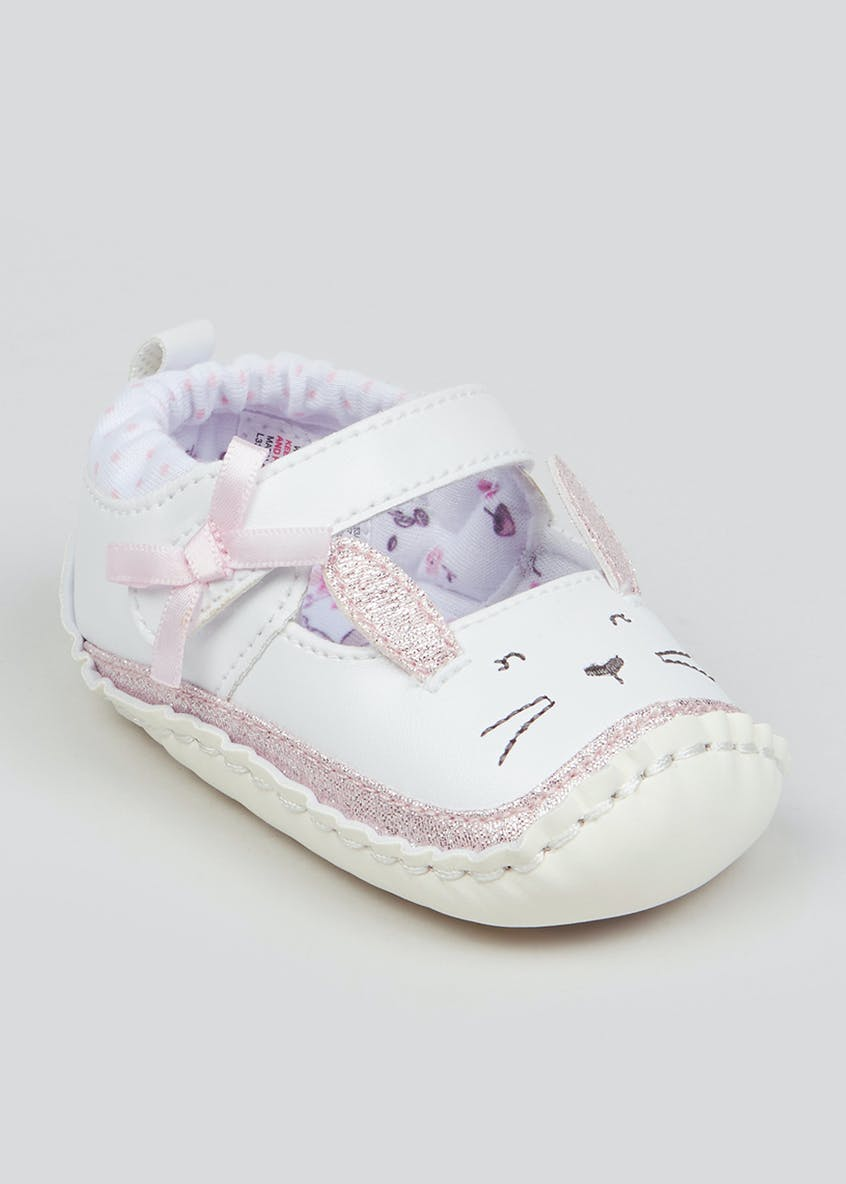 Girls Soft Sole Bunny Baby Shoes (Newborn-18mths)