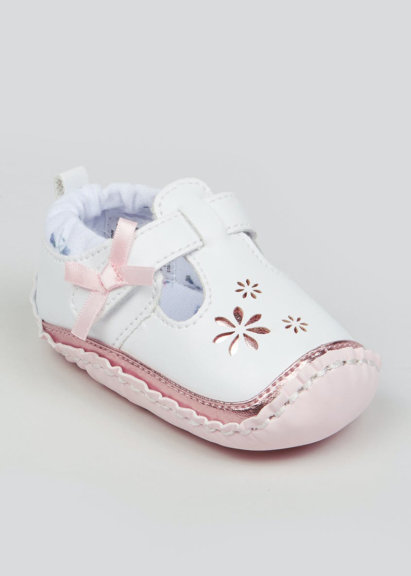 Girls Soft Sole Flower Baby Shoes (Newborn-18mths)