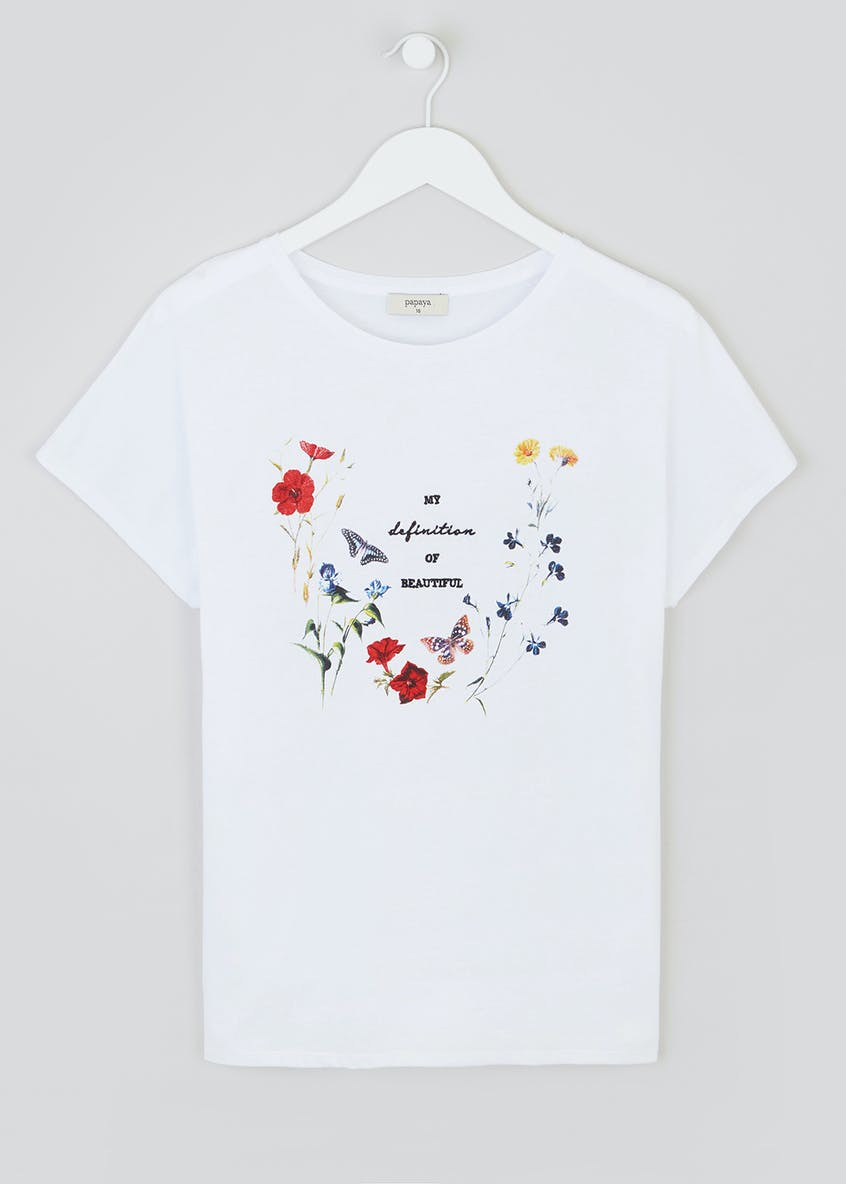 Papaya Petite Floral Beautiful Slogan T-Shirt