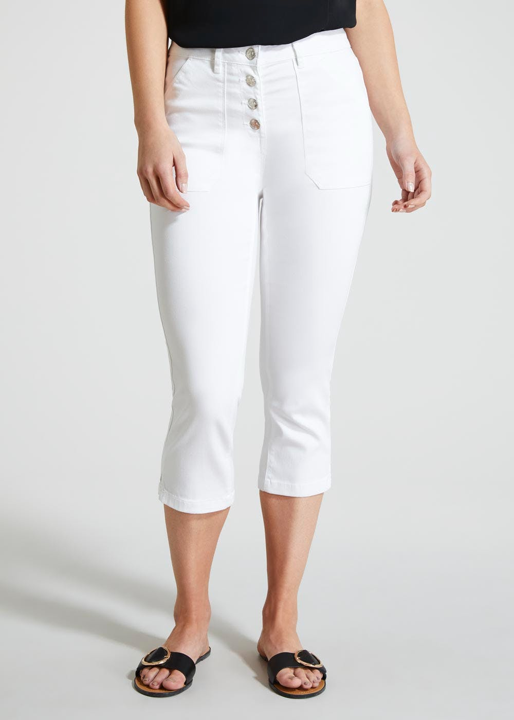 reputable site cute cheap large discount Button High Waisted Casual Cropped Trousers – White – Matalan
