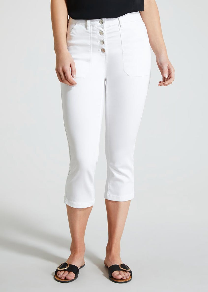 Button High Waisted Casual Cropped Trousers