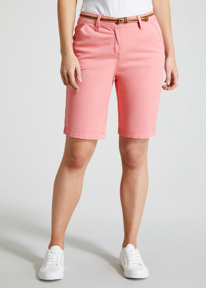 Chino Knee Length Belted Bermuda Shorts