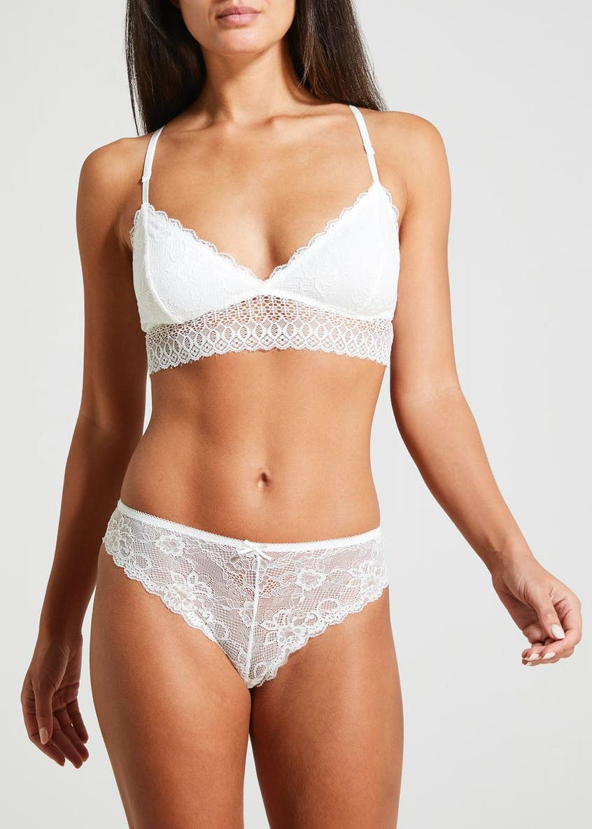 Lace Crop Top Bra & Brazilian Knickers Set