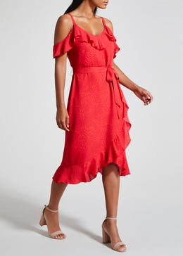 Soon Coral Cold Shoulder Ruffle Midi Dress