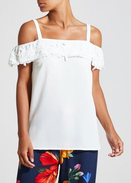 Soon Lace Trim Cold Shoulder Top