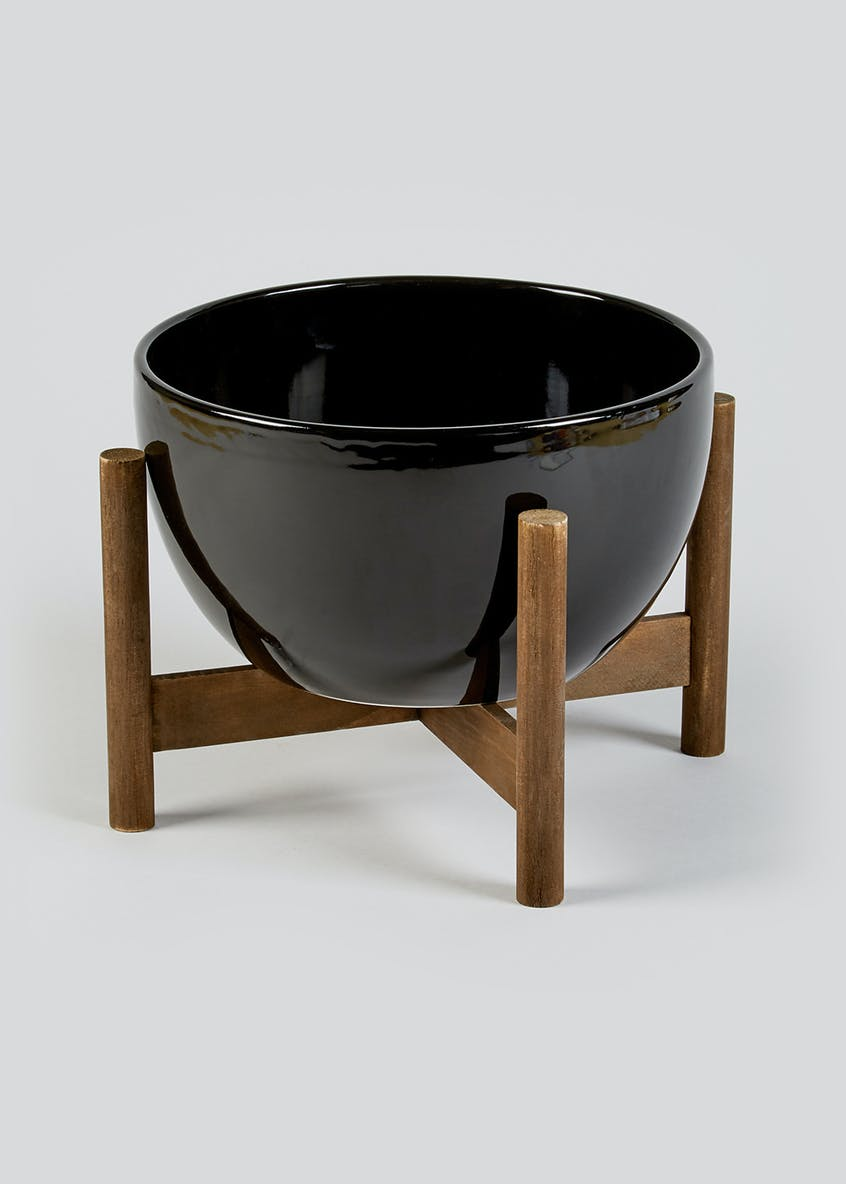 Large Ceramic Pot on Wooden Stand