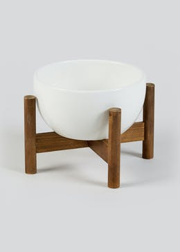 Small Ceramic Pot on Wooden Stand (21cm x 14.5cm)