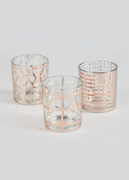 Set of 3 Decal Tealight Holders