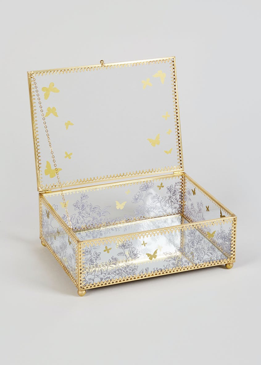 Butterfly Glass & Metal Jewellery Box (20cm x 15cm x 8cm)