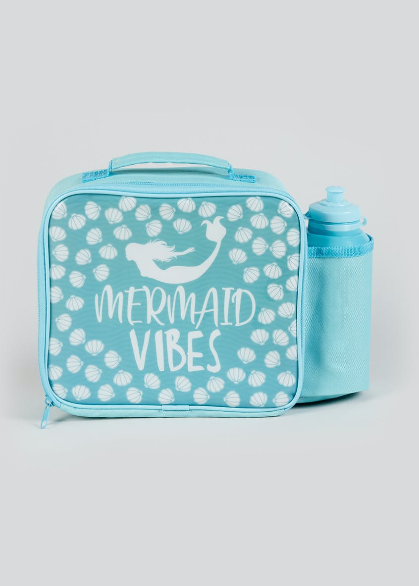 Kids Mermaid Vibes Lunch Bag & Water Bottle (23cm x 20cm x 9cm)