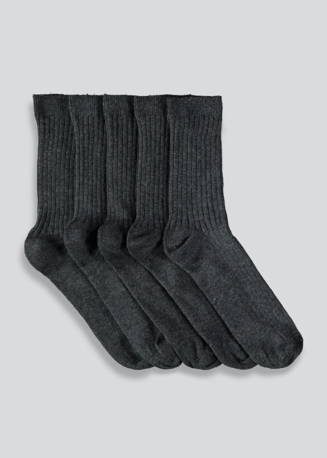 Kids 5 Pack Ribbed Socks (Younger 9-Older 6.5)