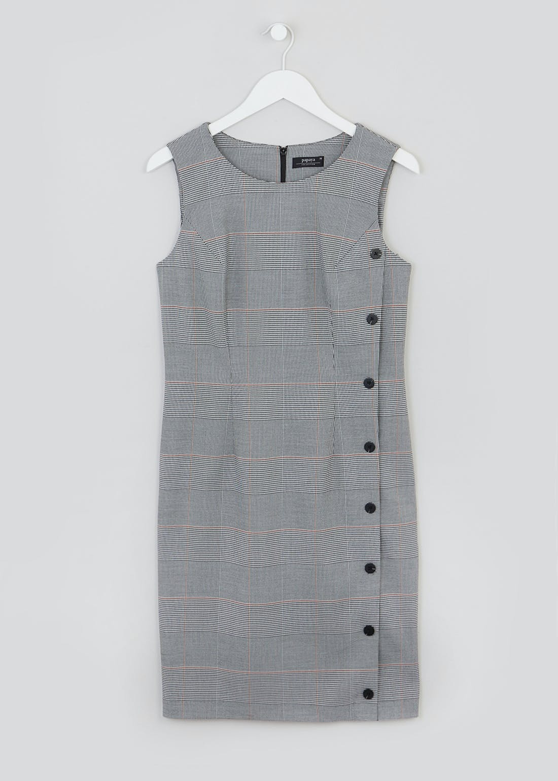 Grey Sleeveless Check Button Side Pencil Dress