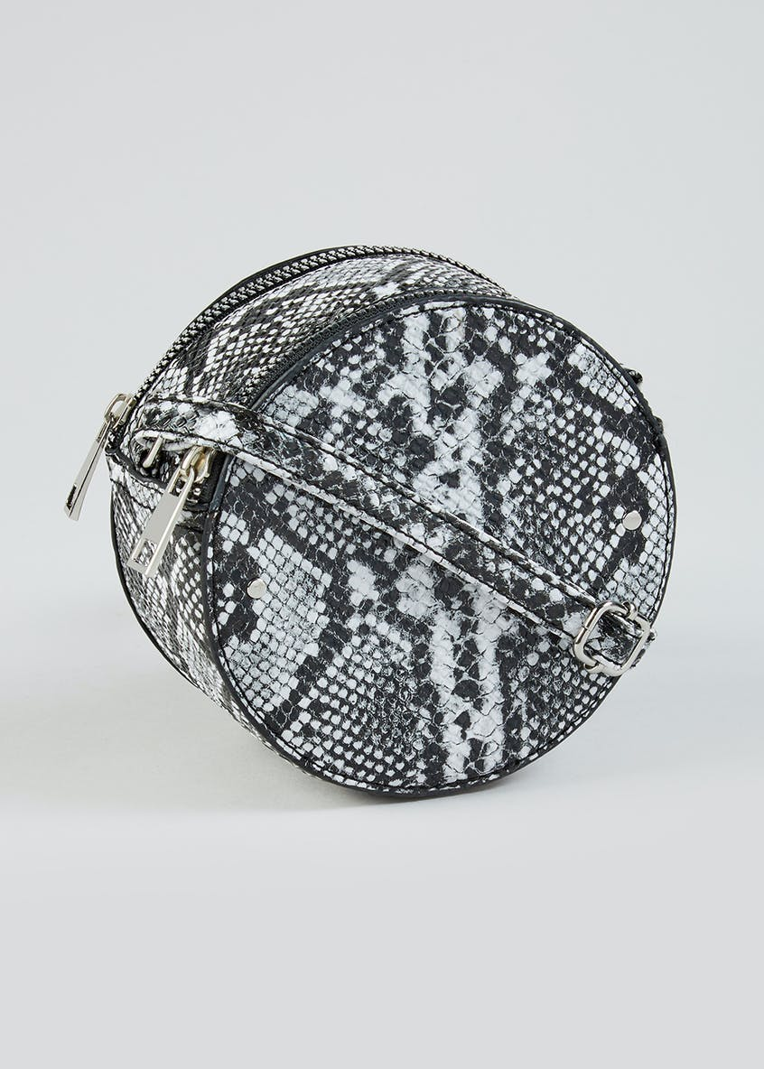 Faux Snake Skin Metallic Circle Cross-Body Bag