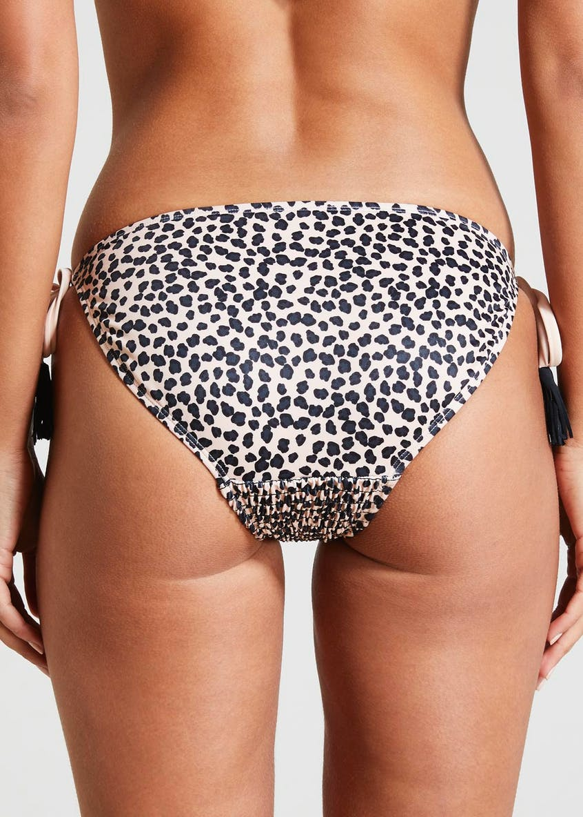 Animal Print Shirred Tie Side Bikini Bottoms