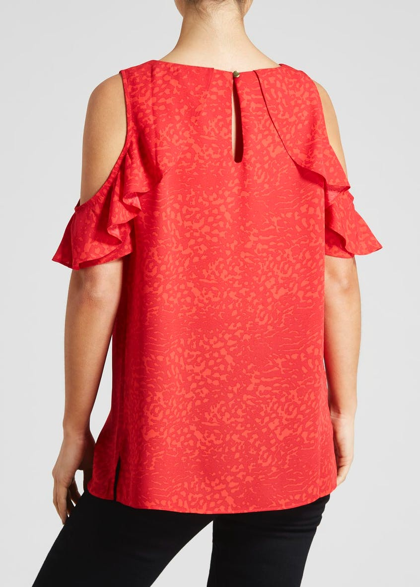 Soon Coral Animal Print Cold Shoulder Blouse