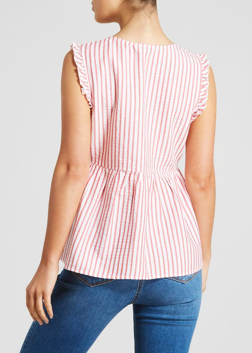 Stripe Peplum Sleeveless Blouse