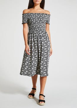 Ditsy Floral Shirred Bardot Midi Dress