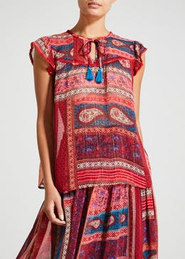 Falmer Red Cap Sleeve Patchwork Co-Ord Blouse