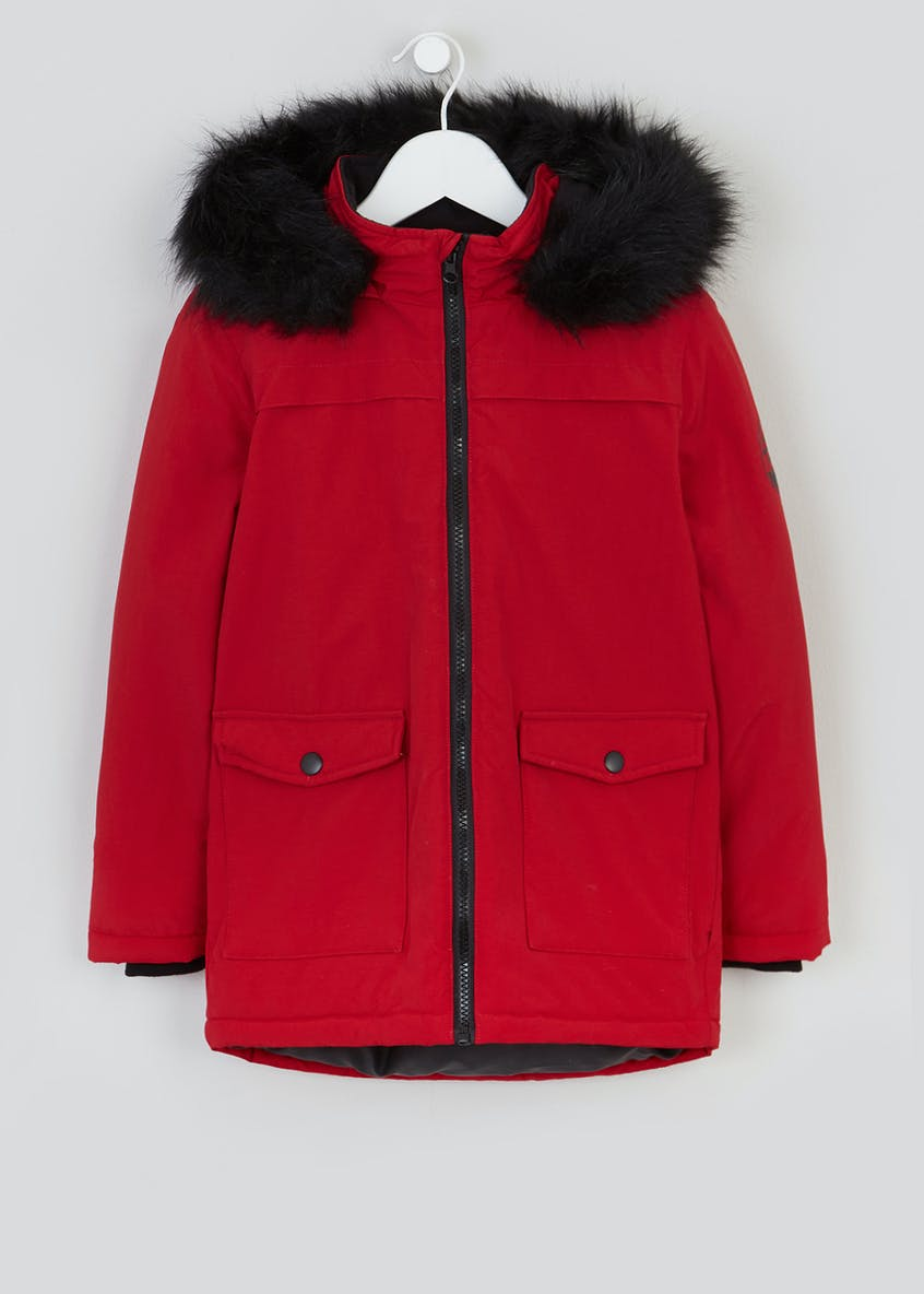 Boys Red Hooded Parka Jacket (4-13yrs)