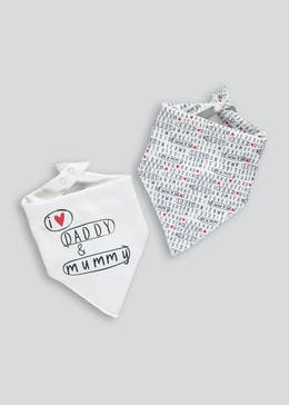 2 Pack Mummy & Daddy Bandana Bibs (One Size)