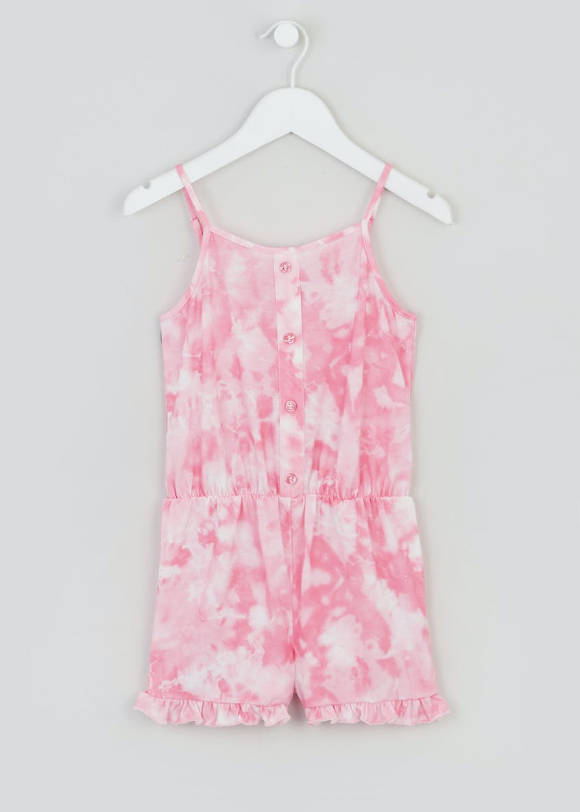 Girls Sleeveless Tie Dye Button Playsuit (4-13yrs)