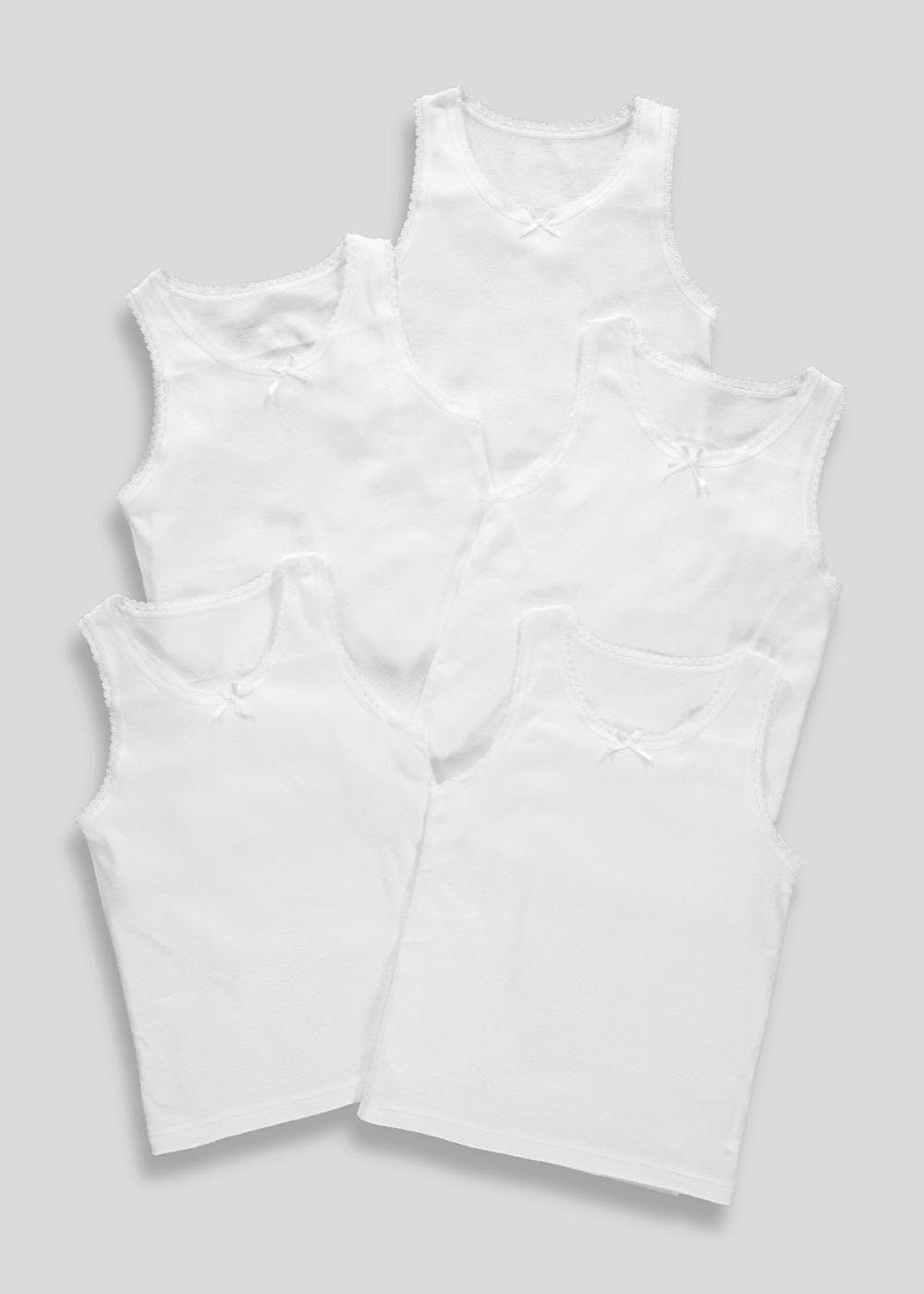Girls 5 Pack Essential Vests (2-11yrs) – White