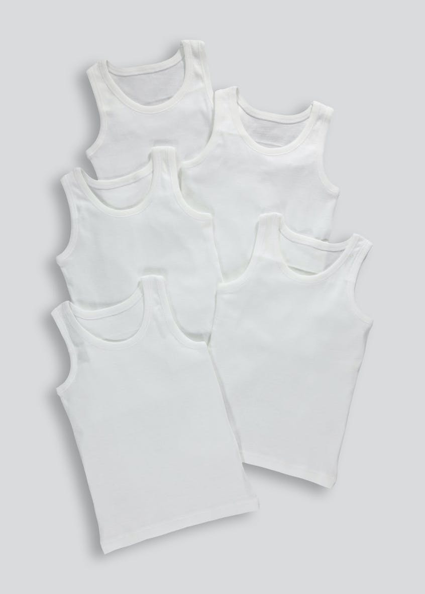 Kids 5 Pack Plain Vests (2-13yrs)
