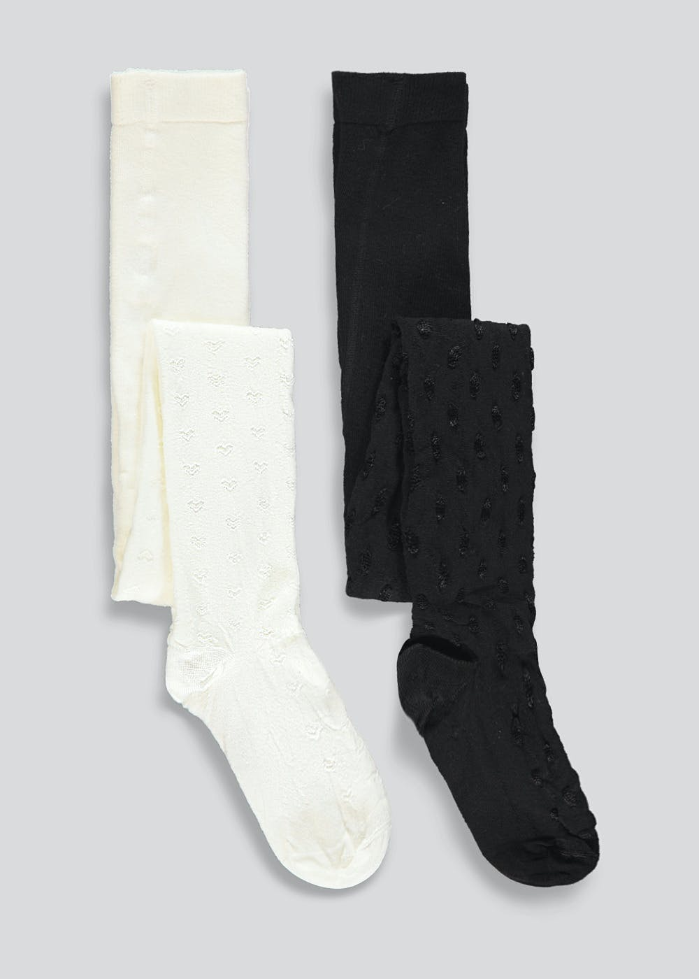 Girls 2 Pack Patterned Tights (2-11yrs) – Multi