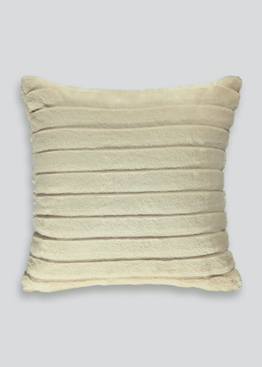Carved Stripe Faux Fur Cushion (46cm x 46cm)
