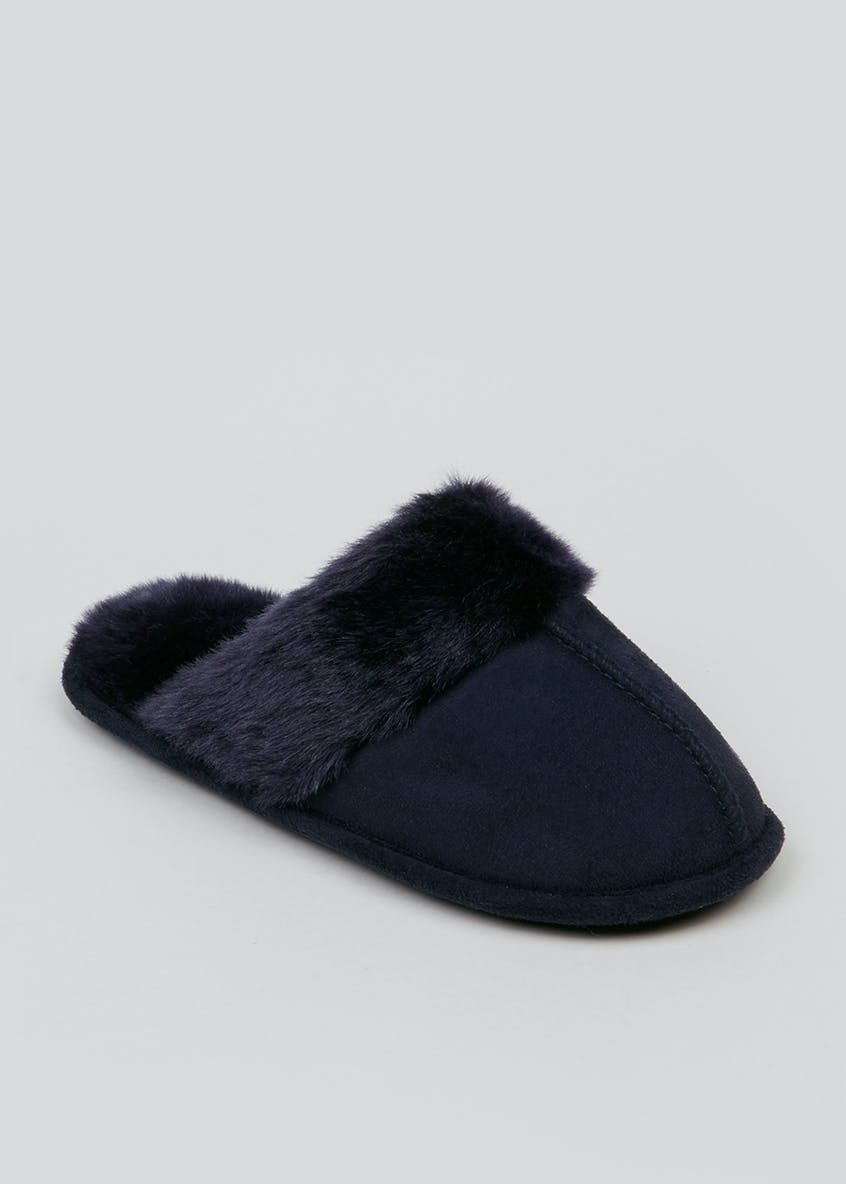 Navy Faux Fur Trim Mule Slippers