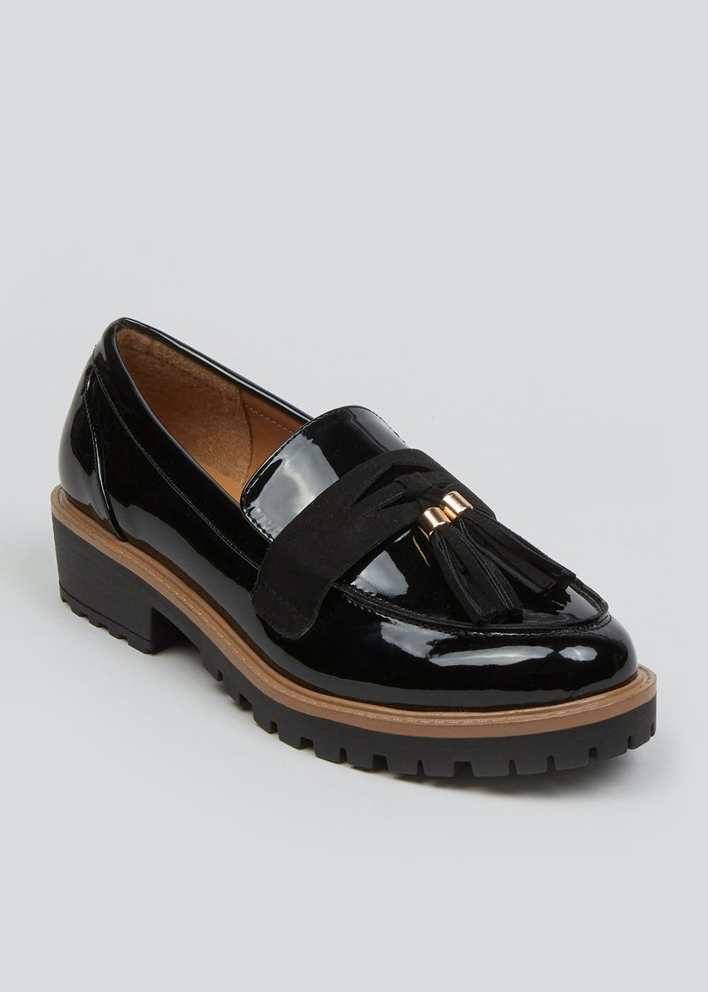 Patent Chunky Tassel Loafers – Black