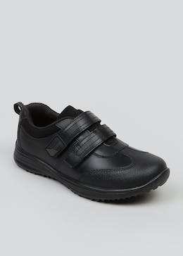 Boys Real Leather Riptape Strap Trainers (Younger 8-Older 13)