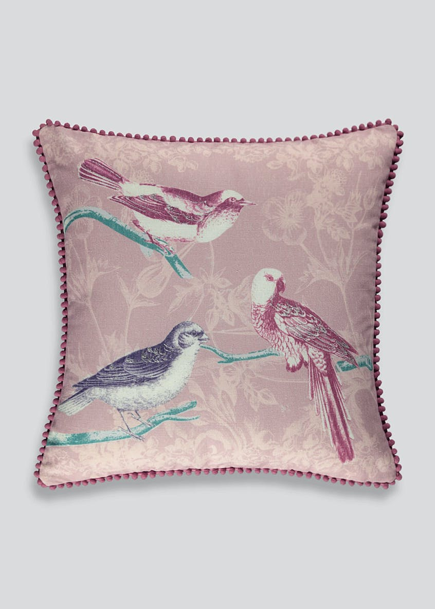 Embroidered Bird Cushion (46cm x 46cm)