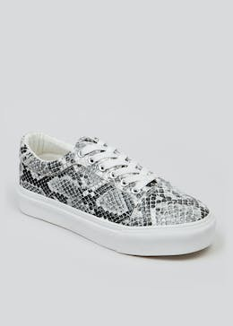 Faux Snake Skin Lace Up Trainers