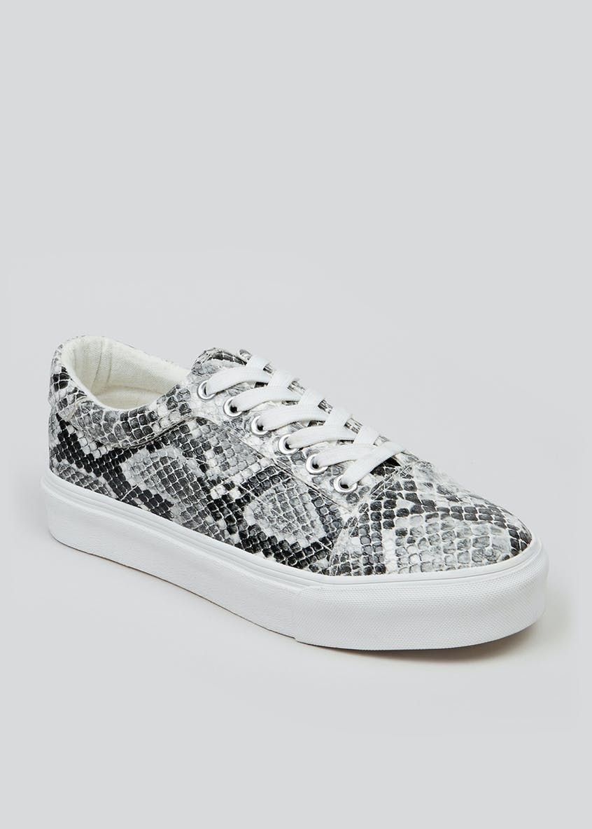 Grey Faux Snake Skin Lace Up Trainers