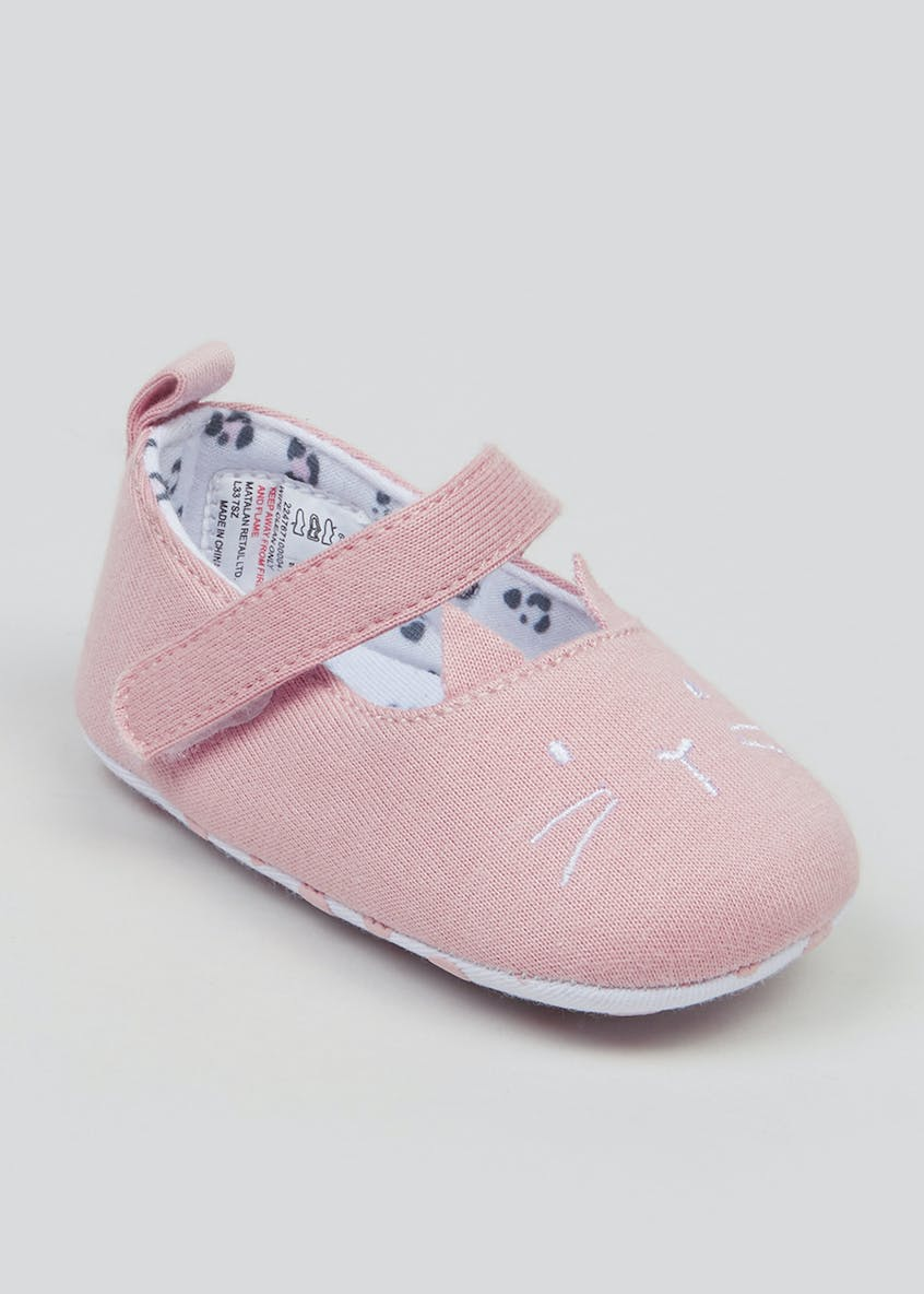 Girls Soft Sole Cat Baby Shoes (Newborn-18mths)
